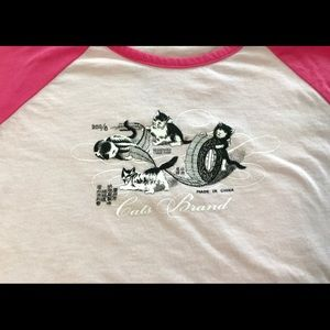 Unique Vintage Tee cute cats - Pink sleeves